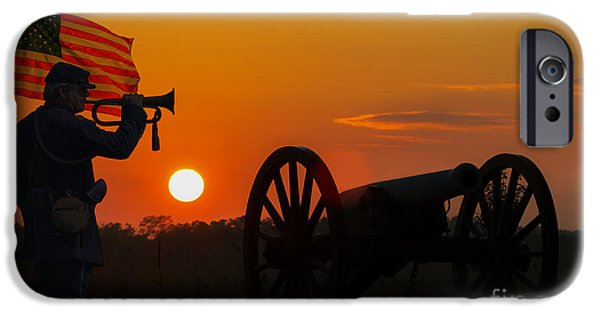 Battle Of Gettysburg Digital iPhone Cases - Sunset Battlefield Taps iPhone Case by Randy Steele