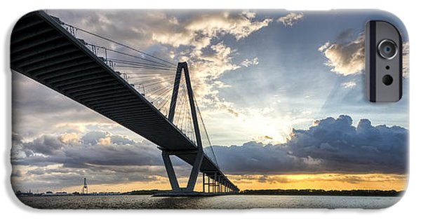Sunset iPhone Cases - Sunset Behind Arthur Ravenel Jr Bridge Charleston South Carolina iPhone Case by Dustin K Ryan