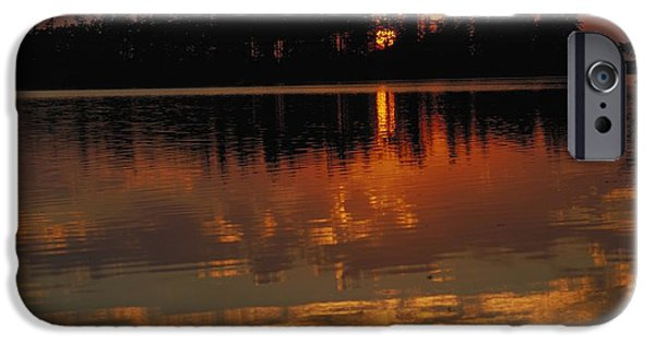 Reflections In River iPhone Cases - Sunset Behind The Trees On A Lake iPhone Case by Gillham Studios