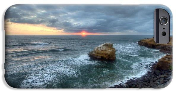 Beach Landscape iPhone Cases - Sunset Cliffs Natural Park iPhone Case by Eddie Yerkish