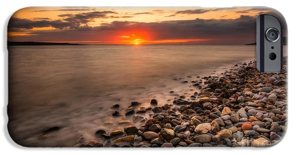 Beach Landscape iPhone Cases - Sunset Deganwy Beach iPhone Case by Adrian Evans