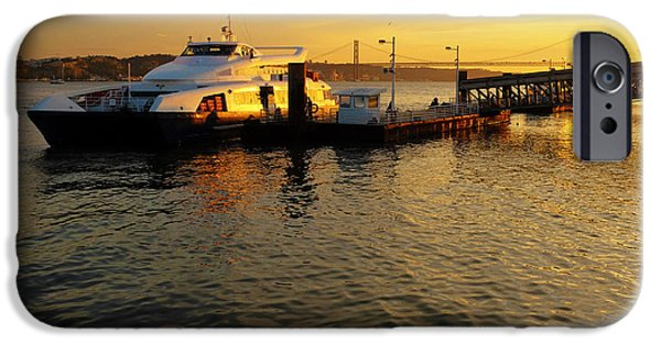 River View iPhone Cases - Sunset Ferryboat iPhone Case by Carlos Caetano