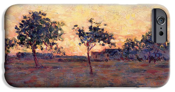 Gloaming iPhone Cases - Sunset iPhone Case by Georges Pierre Seurat