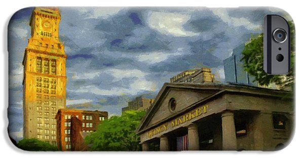 Boston iPhone Cases - Sunset Gleam of Custom House Tower iPhone Case by Jeff Kolker