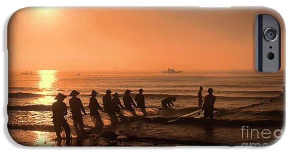 Boat iPhone Cases - Sunset Hai Hau Vietnam  iPhone Case by Chuck Kuhn