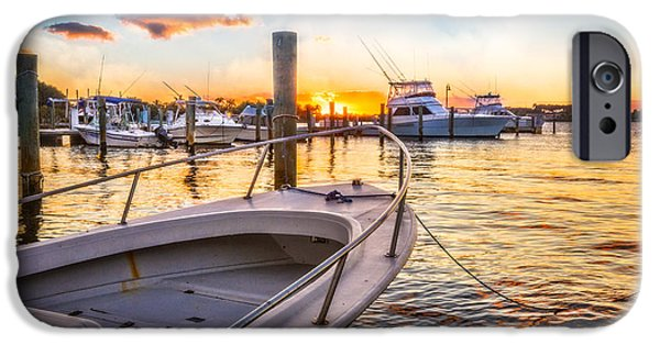 White River Scene Photographs iPhone Cases - Sunset Harbor iPhone Case by Debra and Dave Vanderlaan