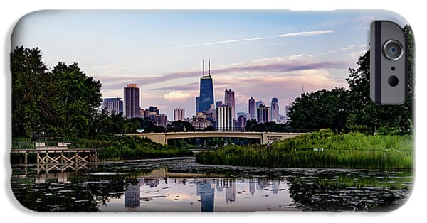 Lincoln iPhone Cases - Sunset in Chicago iPhone Case by William Doree