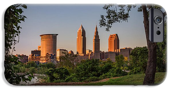 Buildings iPhone Cases - Sunset in Cleveland ohio iPhone Case by Dale Kincaid