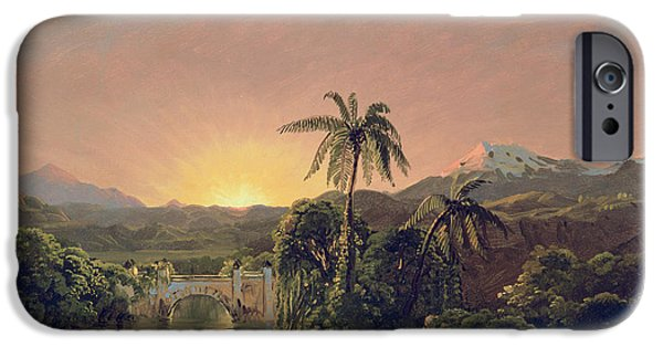 Mountain Paintings iPhone Cases - Sunset in Equador iPhone Case by Frederic Edwin Church