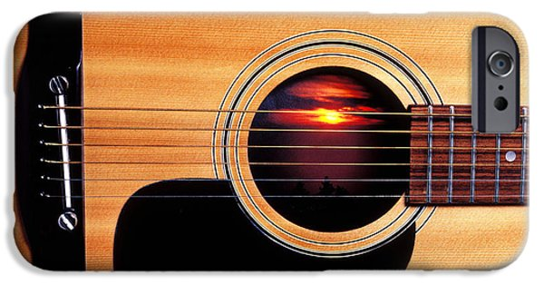 Musical iPhone Cases - Sunset in guitar iPhone Case by Garry Gay