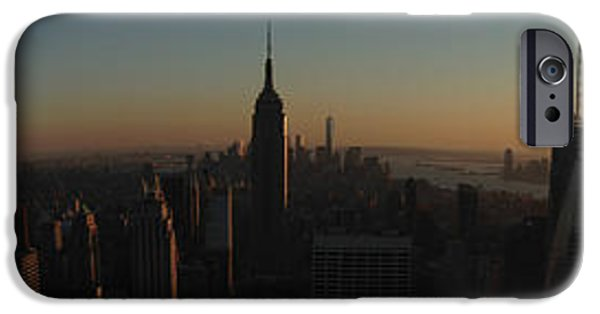 Nyc Pyrography iPhone Cases - Sunset in New York City iPhone Case by Miryam  UrZa