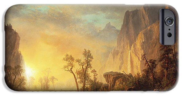Reflection Paintings iPhone Cases - Sunset in the Rockies iPhone Case by Albert Bierstadt