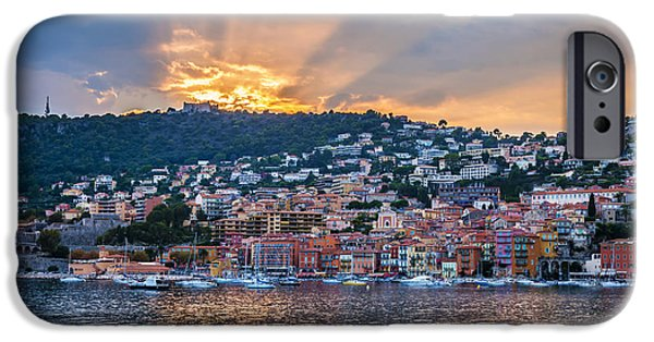 Town iPhone Cases - Sunset in Villefranche-sur-Mer iPhone Case by Elena Elisseeva
