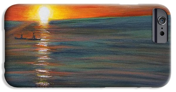 Beach Landscape iPhone Cases - Sunset Kayak Duo iPhone Case by Gia McNutt