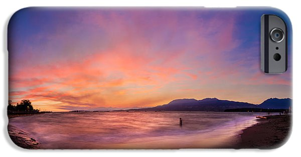 Ocean Sunset iPhone Cases - Sunset Kitsilano Beach Vancouver iPhone Case by Peter v Quenter