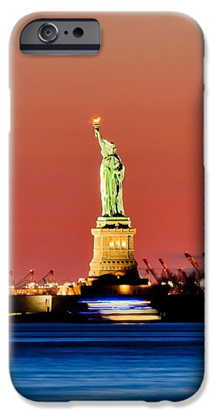 Liberty Photographs iPhone Cases - Sunset Liberty iPhone Case by Az Jackson