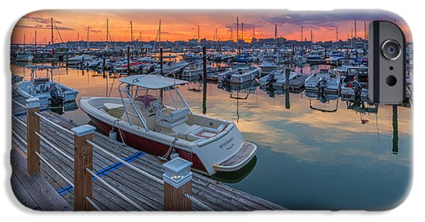 Sailboat Ocean iPhone Cases - Sunset Marina iPhone Case by Stephen Beckwith