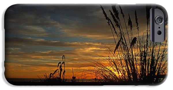 Ocean Sunset iPhone Cases - Sunset on Coronado iPhone Case by Kathy Yates