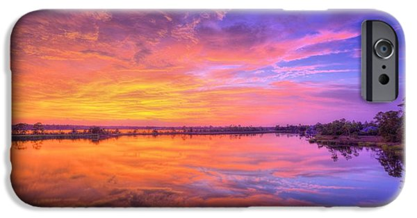 Florida Panhandle iPhone Cases - Sunset on the Black Water iPhone Case by JC Findley