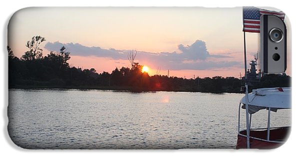 American Flag iPhone Cases - Sunset On The Cape Fear River North Carolina iPhone Case by John Telfer