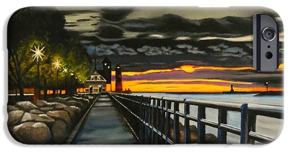 Pathway iPhone Cases - Sunset On The Channel iPhone Case by Janet Guss