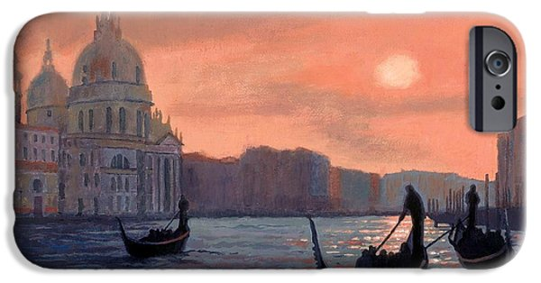 Janet King iPhone Cases - Sunset on the Grand Canal in Venice iPhone Case by Janet King