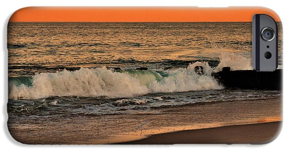 Bay Head Beach iPhone Cases - Sunset On The Jetty - Jersey Shore iPhone Case by Angie Tirado