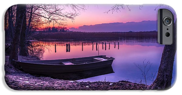 Boat iPhone Cases - Sunset on the White Lake iPhone Case by Dmytro Korol