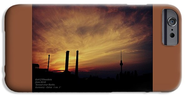 Business Paintings iPhone Cases - Sunset over Berlin Catus 1 no. 1 H a iPhone Case by Gert J Rheeders