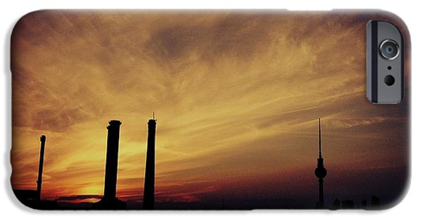 Business Paintings iPhone Cases - Sunset Over Berlin Germany Catus 1 no. 1 H b iPhone Case by Gert J Rheeders
