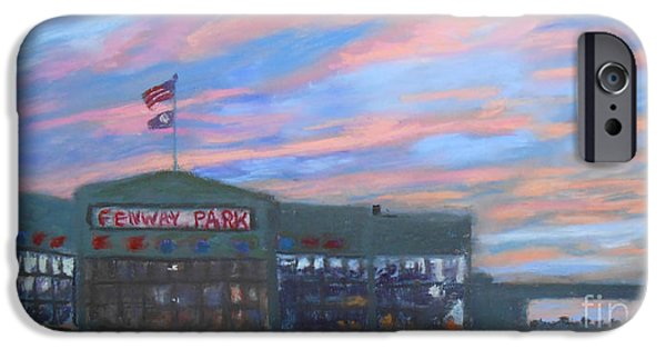 Boston Red Sox Pastels iPhone Cases - Sunset over Fenway iPhone Case by Claire Norris