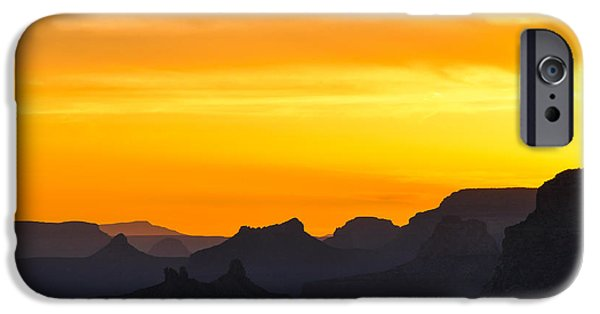 Grand Canyon iPhone Cases - Sunset over Grand Canyon iPhone Case by Anna Serebryanik