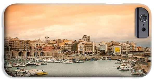 Water Vessels iPhone Cases - Sunset over Heraklion iPhone Case by Gabriela Insuratelu