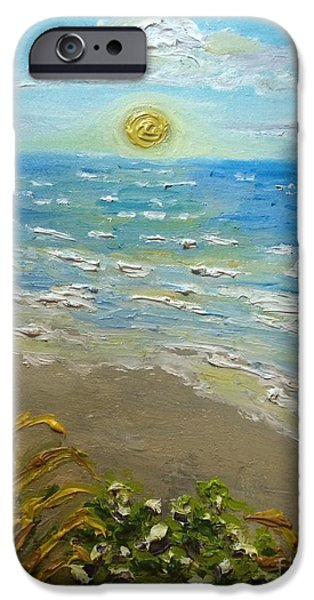 Chicago Paintings iPhone Cases - Sunset over Lake Michigan iPhone Case by Julie Stratton