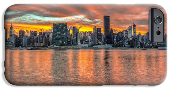 Nation iPhone Cases - Sunset Over Manhattan, Gantry Plaza iPhone Case by F. M. Kearney