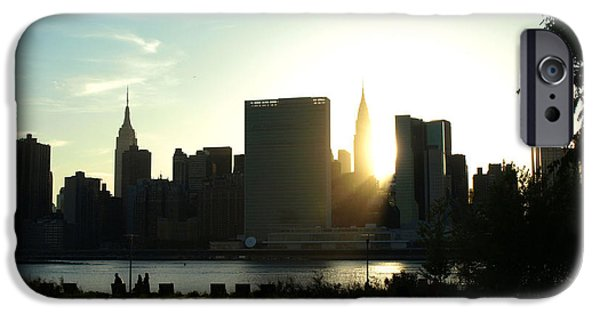 Empire State iPhone Cases - Sunset over Manhattan iPhone Case by Jeffrey Saraceno