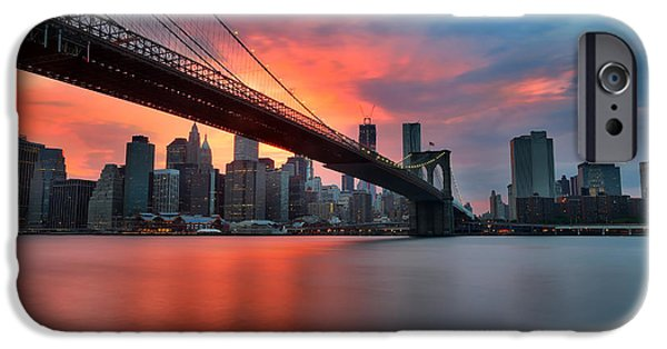 Hudson River iPhone Cases - Sunset over Manhattan iPhone Case by Larry Marshall