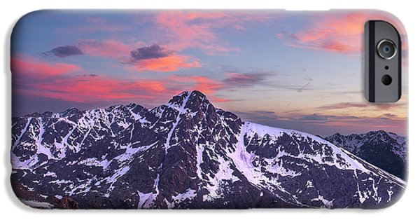 Snowy Night iPhone Cases - Sunset over Mt. of the Holy Cross iPhone Case by Aaron Spong