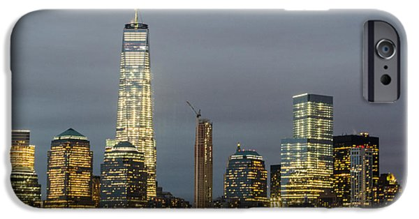 Freedom iPhone Cases - Sunset Over New York City iPhone Case by Nicholas Isabella