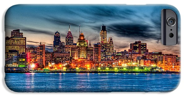 Waterfront Photographs iPhone Cases - Sunset over philadelphia iPhone Case by Louis Dallara