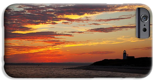 Lighthouse iPhone Cases - Sunset over Sandy Neck Lighthouse iPhone Case by Charles Harden