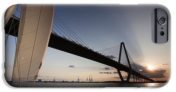 Sailboats In Harbor iPhone Cases - Sunset Over the Cooper River Bridge Charleston SC iPhone Case by Dustin K Ryan