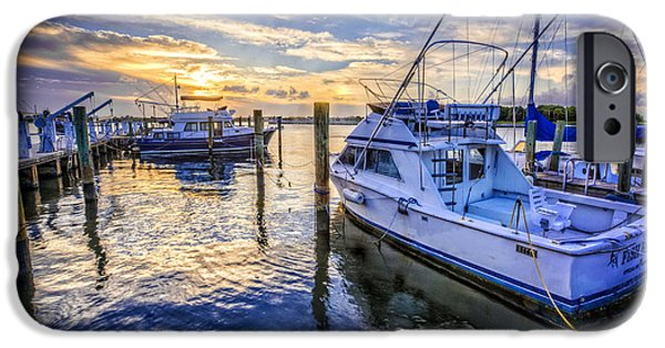 Boat iPhone Cases - Sunset over the Docks iPhone Case by Debra and Dave Vanderlaan