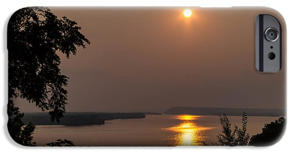 Fireworks iPhone Cases - Sunset over the Mississippi River iPhone Case by Michael Matney