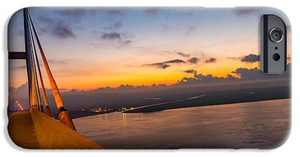 Mist iPhone Cases - Sunset over the Sidney Lanier Bridge iPhone Case by Chris Bordeleau