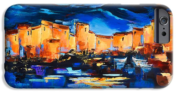 Abstract Seascape iPhone Cases - Sunset Over the Village 2 iPhone Case by Elise Palmigiani