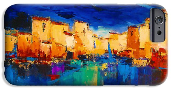 Reflection Paintings iPhone Cases - Sunset Over the Village iPhone Case by Elise Palmigiani