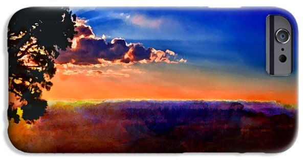 Grand Canyon iPhone Cases - Sunset Painting Grand Canyon iPhone Case by  Bob and Nadine Johnston