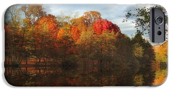 Autumn Foliage Photographs iPhone Cases - Sunset Reflections iPhone Case by Jessica Jenney
