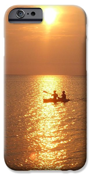 Canoe iPhone Cases - Sunset Ride iPhone Case by Gayle Deel